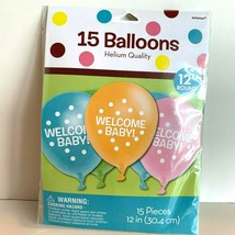 Welcome Baby Shower Latex Balloons Set of 15 Unisex Colors - $8.72
