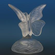Vintage Fenton Art Glass Crystal Velvet Butterfly Ring Holder c1987