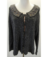 Hot Knots Embellished Beaded Cardigan Sweater M L Scalloped Gray Marled ... - $55.43