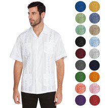 vkwear Men's Guayabera Cuban Beach Wedding Casual Short Sleeve Dress Shirt
