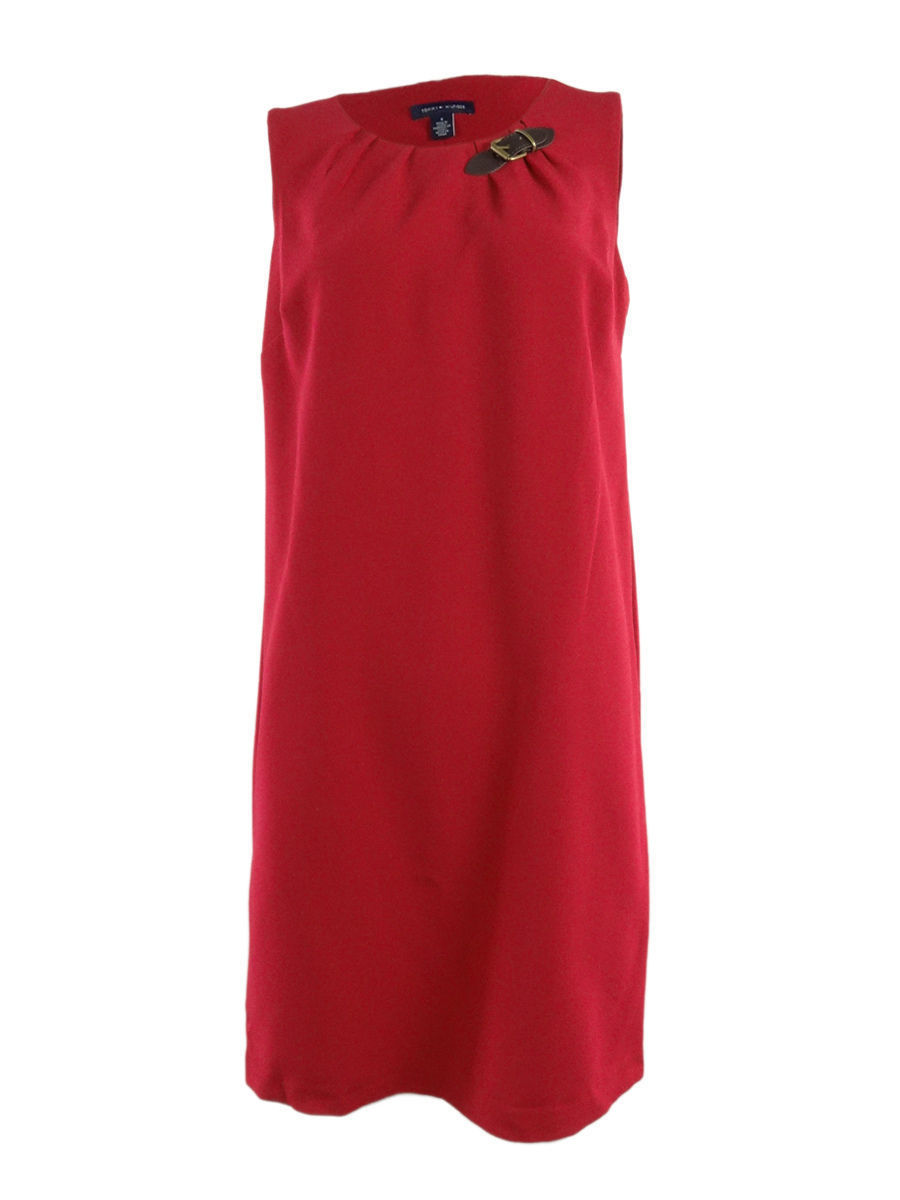 TOMMY HILFIGER Women's Candy Cane Shift Red Dress Buckle Sleeveless Size 6 $99