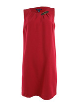 TOMMY HILFIGER Women's Candy Cane Shift Red Dress Buckle Sleeveless Size... - $31.23