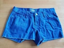 Cotton Royal Blue Short Shorts 6 Zip Closure Pockets Raw Hem Old Navy Th... - $12.77