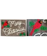 Merry Christmas Cardinal St Nicholas Square Gray Red Bath Cotton Throw R... - $19.77