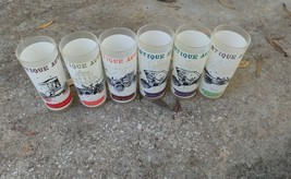 6 Antique Auto frosted glass tumblers 1900 1909 cars - $48.20