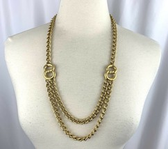 """Chunky Gold Tone Layered Statement Necklace Vintage Link Chain 28"""" - $29.41"""