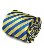 Frederick Thomas Designer Mens Tie - Royal Blue & Pale Yellow Striped Ne... - $16.48