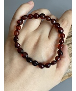 Genuine 18mm Natural Red Blood Amber Bracelet Healing Red Round Beads amber - $145.00
