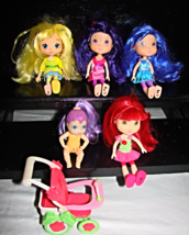 "Strawberry Shortcake 6"" Dolls X 4--& Baby/Stroller - $19.00"