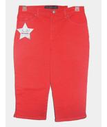 Gloria Vanderbilt Petite Amanda Orange Belted Denim Jean Capris Classic ... - $29.99