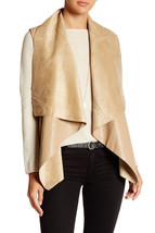 New Front Draped Shawl Collar  Women's Shawl Over the Shoulder Leather J... - $130.00