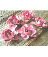 FIVE medium metal PINK rose flowers for accents, embellishments, crafting - $24.98