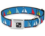 Dog Collar Seatbelt Buckle Sailboats Blue 11 to 17 Inches 1.0 Inch Wide