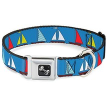 Dog Collar Seatbelt Buckle Sailboats Blue 11 to 17 Inches 1.0 Inch Wide - $12.95