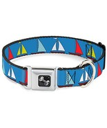 Dog Collar Seatbelt Buckle Sailboats Blue 11 to 17 Inches 1.0 Inch Wide - £12.88 GBP