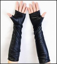 2017 New Style, 40cm,50cm,60cm(100% Leather)Women's Black Fingerless Lon... - $33.52+