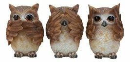 See Hear Speak No Evil Wise Owls Figurine Decor Set Wisdom Of The Woods ... - $26.99