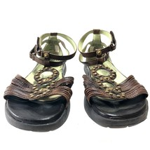 Earth Couture Women's T-Strap Ankle Strap Flat Brown Leather Sandals Fau... - $24.02