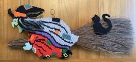 Vtg Handmade Halloween Witch On Twig Broom Black Cat Cross Stitch Wall D... - $123.70