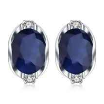 Blue Sapphire, Stunning 925 Sterling Silver Stud Earrings with Gorgeous ... - $89.95