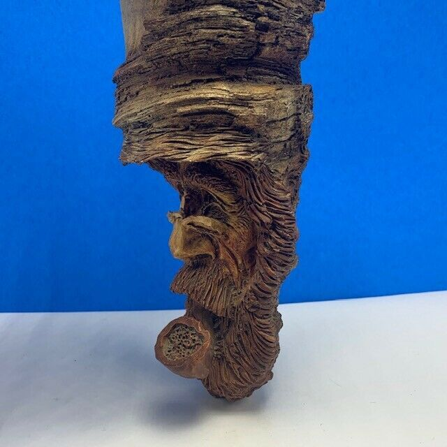Wood carved Tree face beard wind whisp wizard gnome pipe Cast folk art vintage