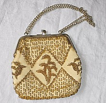 *VINTAGE HONG KONG GOLD BEAD EVENING BAG 2 CHAIN HANDLE WILL THROW OVER ... - $14.23