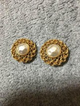 Authentic CHANEL Vintage Pearl Gold Logo Clip on Earrings Coco HCE036 - $159.49