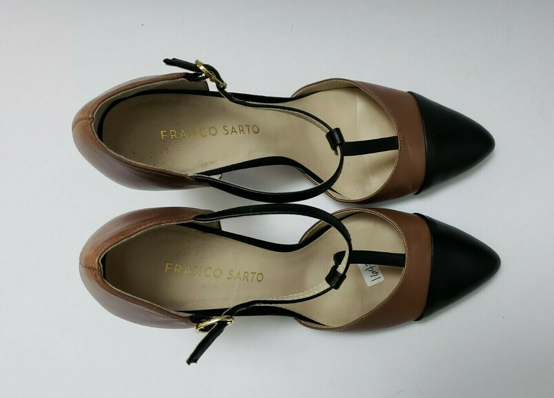 Franco Sarto Shoes Heels Brown Black T-Strap Tanda Womens Size 8.5 M image 8