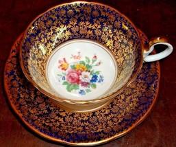 Vintage Aynsley Artist Signed Bailey Pedestal Cup & Saucer Cobalt & Gold... - $350.00