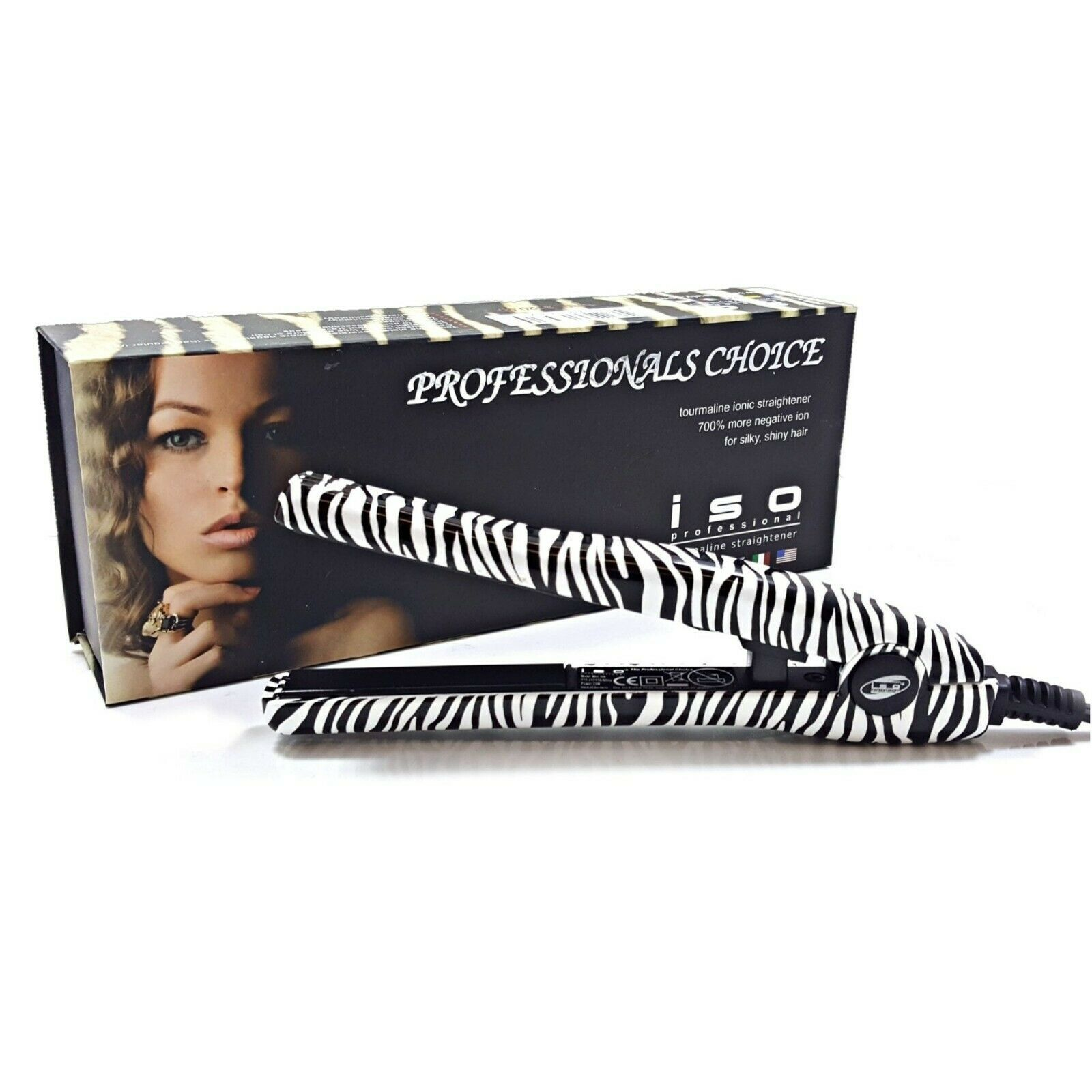 "Primary image for ISO Beauty Travel 0.5"" Mini Silk Tiger or Zebra Mini Iron Hair Straightener"