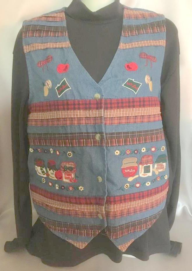 Primary image for Blue Denim Country Vest, Bobbie Brooks, Womens Small (4-6), Farm Girl, Patchwork