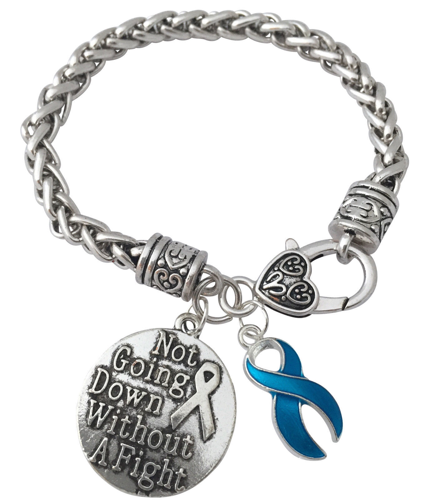 Blue Cancer Ribbon Not Going Down Without A Fight Silver Charm Bracelet