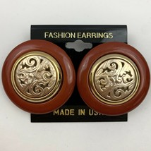 Vintage Big Round Filigree Center Pierced Earrings Burnt Sienna Gold Ton... - $11.10
