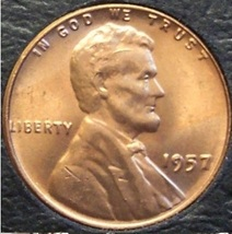 """1957 Lincoln Wheat Penny MS65R """"Cracked Skull"""" #0440 - $3.59"""