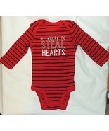 NEW Baby First Valentines One Piece Long Sleeve Steal Hearts Size NB thr... - $5.99