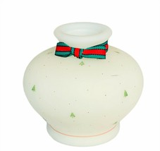 Fenton art glass Christmas holiday candle holder milk bow tree vase bowl... - $84.15