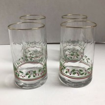 Vintage 1983 Set Of 4 Arbys Christmas Holly Glasses Tumblers - $17.34