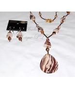Running Zebra-Brown Stripe Zebra Jasper Gemstone Pendant Necklace & Earr... - $236.00