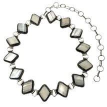 Silver Plated Mother of Pearl Cabochon Metal Belt Adjustable African Jew... - $11.60