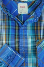 Levi's Men's Blue & Brown Western Style Plaid Cotton Poly Casual Shirt M Medium - $22.94