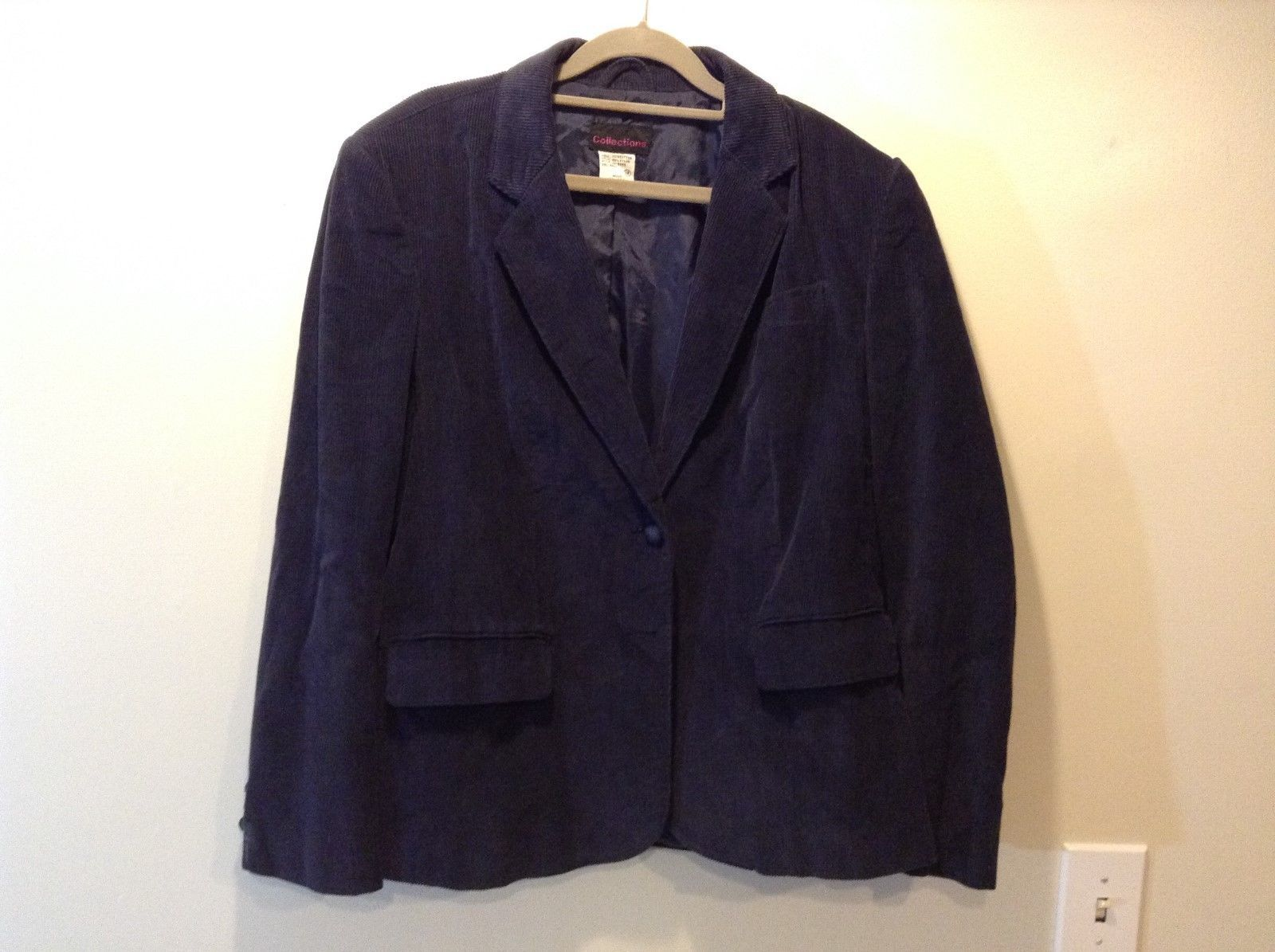 Collections Navy Blue Corduroy Blazer Sz 18