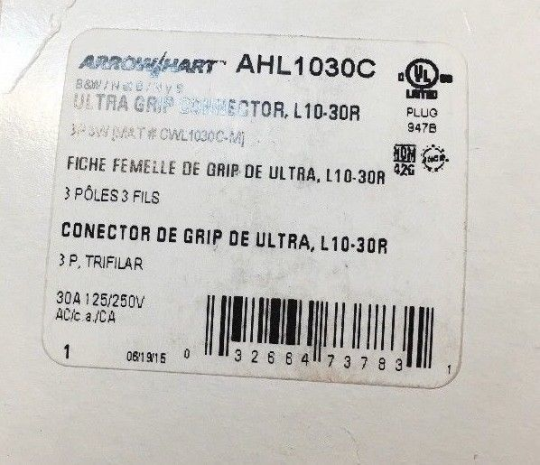 EATON Arrow Hart Ultra Grip Connector L10-30R AHL1030C New In Box - $27.07
