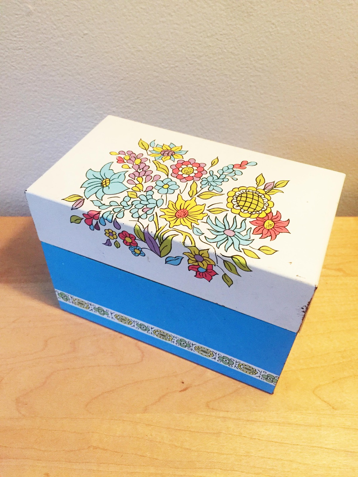 Vintage 60s Ohio Art Aluminum Floral Recipe Box