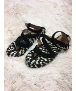New Proenza Schouler Black White Espadrille Thong Sandals Size 6 - $99.00
