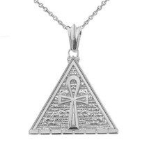 .925 Sterling Silver Ankh Pyramid Charm Pendant Necklace - $45.44+
