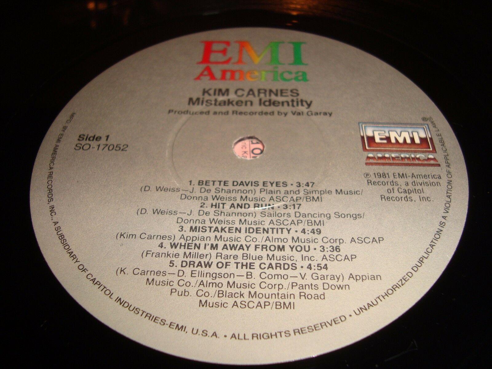 "Kim Carnes Mistaken Identity 12"" Vinyl Record Album EMI SO-17052 Bette Davis Eye"