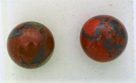 Breccia Jasper Gemstone 8mm Stud Earrings 2 - $9.03