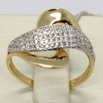 SOLID 18K YELLOW GOLD BAND ZIRCONIA RING, ONDULATE, WAVE, WOVEN, MADE IN ITALY
