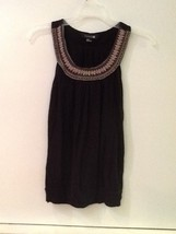 Womens Forever 21 Black Tank Top With Embroidered Neckline S Ize M - $12.95