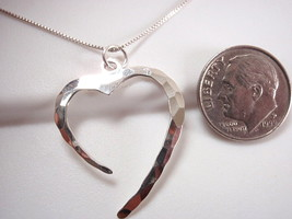 Hammered Heart Pendant 925 Sterling Silver Corona Sun Jewelry Imported Thailand - $8.90